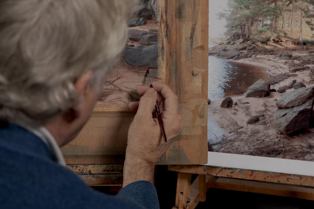 Painter in art studio