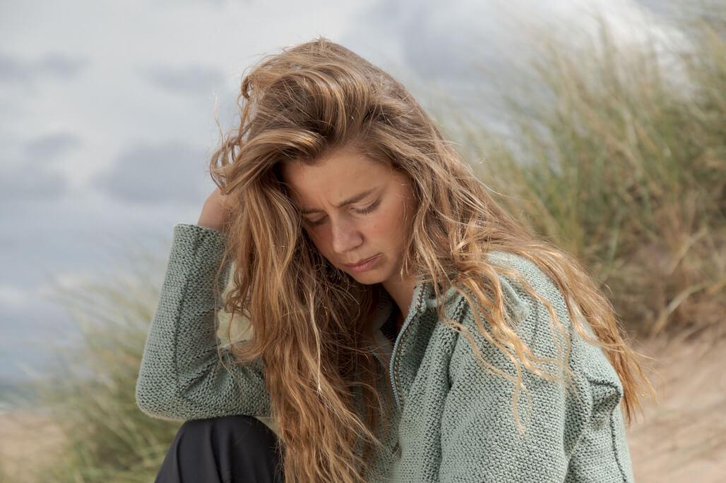 female model at the beach