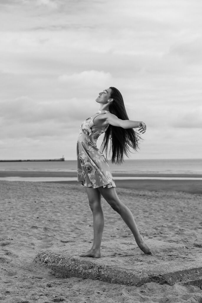 Female dancer on the beach