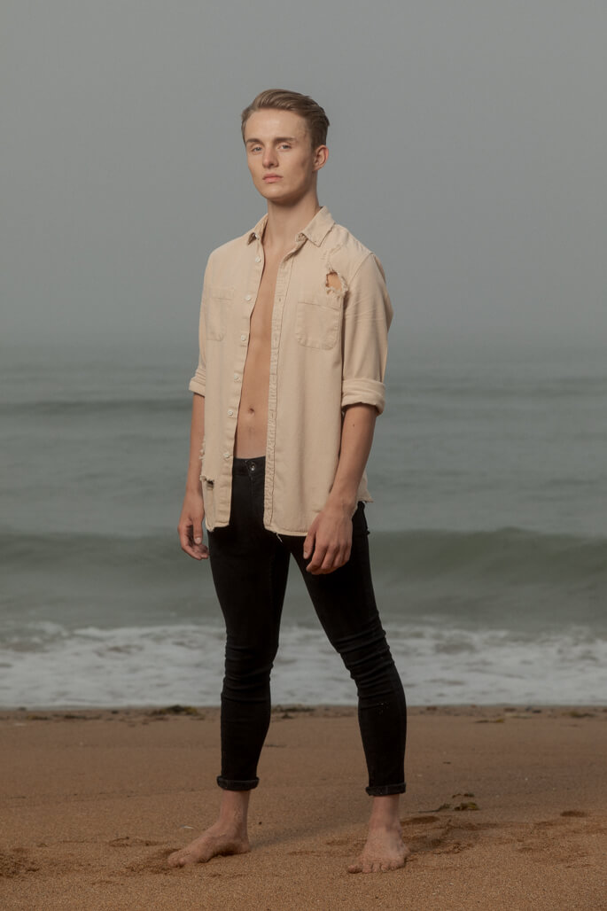male dancer on the beach