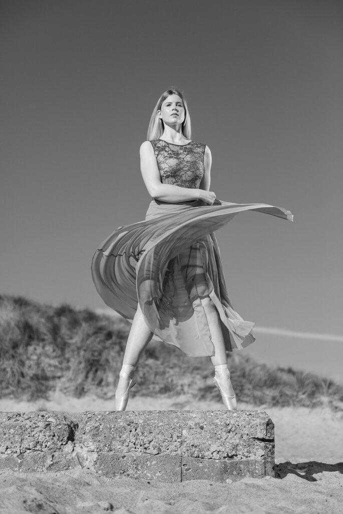 Female ballet dancer on the beach