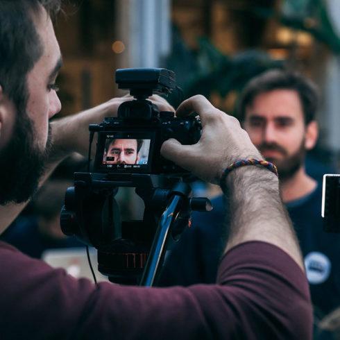 Filming a corporate video