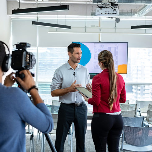 Interviewing corporate video